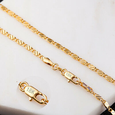 18K Yellow Gold GP 2MM Flat Waterwave Unisex Fashion Jewelry Chain Necklace X219