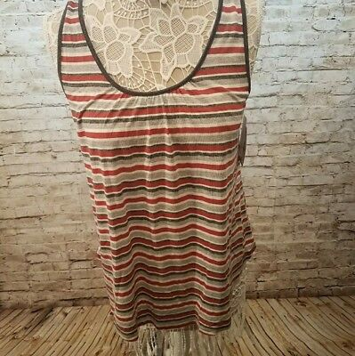 NWT Women's Susina Red Black Striped Tie Back Sleeveless Tank Top Size Medium