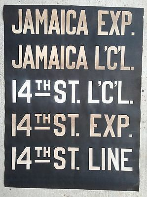 1930s BMT New York Subway Vellum Roll Sign Brooklyn Canarsie JAMAICA Collectible