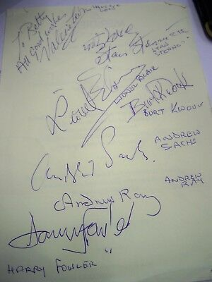 Autograph sheet 7 names Brit cinema & TV inc Kwouk Sach Leon Fowler Ray reduced