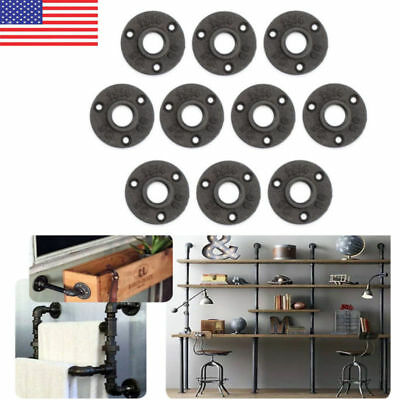 10PCS 1/2'' Flange Malleable Threaded Iron Pipe Fittings Floor Wall Mount Black