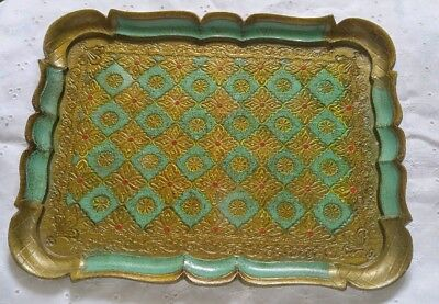"""Vintage Italy Florentine Gold Green Square Tray 12 1/4"""""""