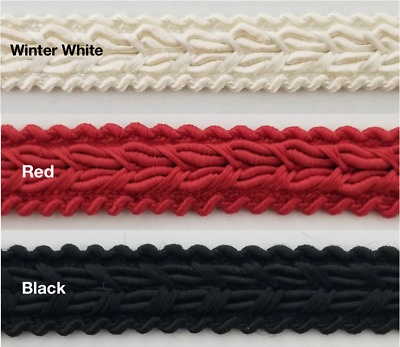 3//4 Braid Gimp Trimming Black 10 Continuous Yards Many Colors Available!