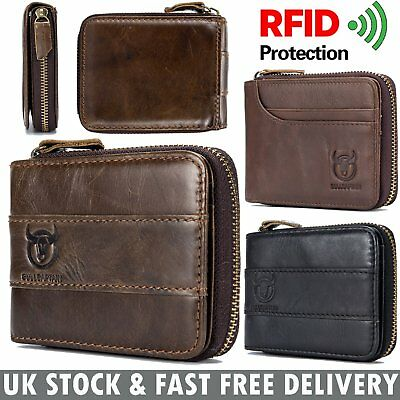 Mens Wallet Genuine Leather RFID Bifold Zip Around Card Purse with Coin Pocket