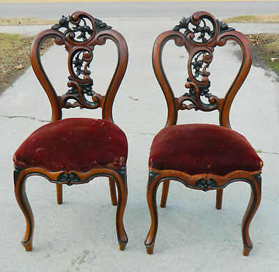 Pair~~Mahogany and Ebony Victorian Parlor Chairs  Side Chairs circa 1865
