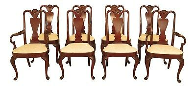 L46445EC: Set Of 8 HICKORY CHAIR CO Queen Anne Mahogany Dining Chairs