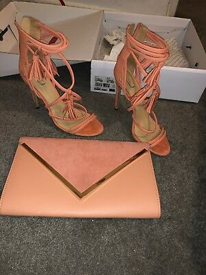 a9cbdf8fe5227d ALDO CORAL HEELED Sandals Size 5 And Matching Clutch bag - £22.00 ...