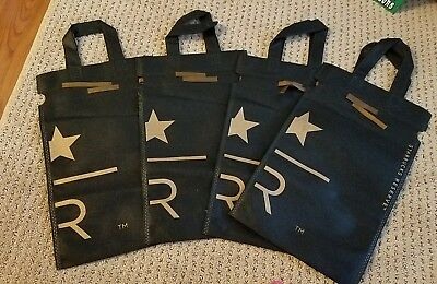 New Lot of 4 Starbucks Coffee Reserve Black Gold Logo Drawstring Gift Bags Tote