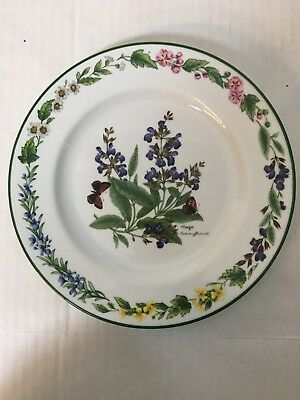 Royal Worcester Herbs Green Trim Salad Plate Sage 8 1/4""