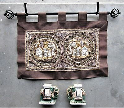 VIETNAMESE ELEPHANT x2 Asian ANTIQUE style Ceramic Pair Ornament Wall Hanging