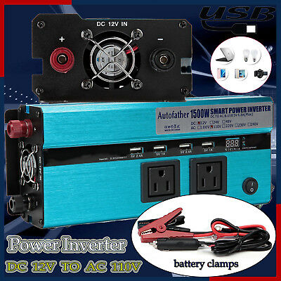 Car Truck RV POWER INVERTER Converter Adapter 1500W(Peak 3000W) DC 12V - AC 110V