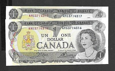 Canada    1973  One Dollar Notes  -  Gem Uncirculated Condition - Consec Pr