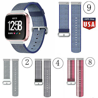 Replacement Woven Canvas Nylon Band Strap Wristband For Fitbit Versa Watch US