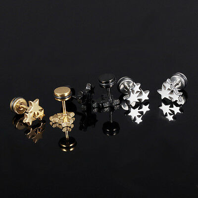 Fashion Women Star Silver Black Gold Surgical Stainless Steel Stud Earrings