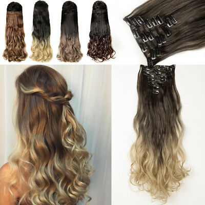 US 100% Real Natural 8 Pcs Clip In as Human Hair Extensions Full Head  18Clips 625739751