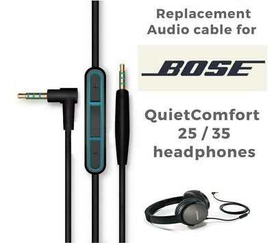 Hybrid Inline Black Remote Control Cable for Bose QC25 QC35  Headphones