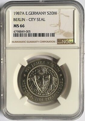 East Germany DDR 1987 City Seal 20 Mark Silver Coin NGC MS66