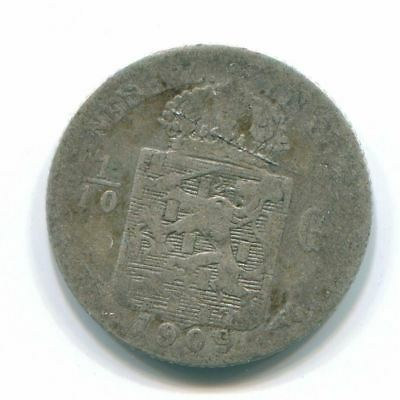 1909 Netherlands East Indies 1/10 Gulden Silver Colonial Coin Nl13242#3
