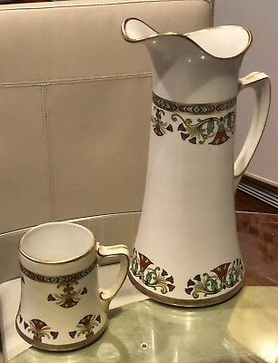 Pair Of  Pitcher And Mug Egyptian pottery Gold Trim Steubenville Empire 1915
