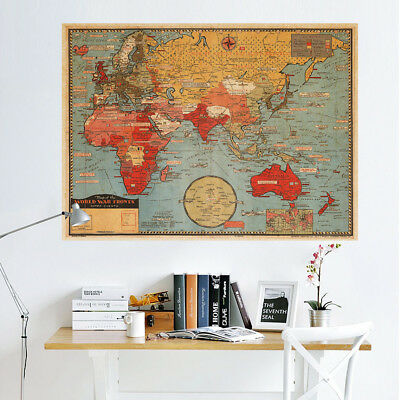 Vintage Retro World Map Antique Wall Chart Paper Poster Living Bedroom Decor UK