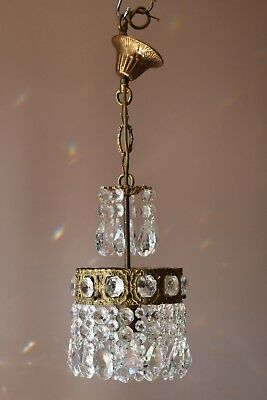 Petite 1950's Vintage Crystal Chandelier, Antique French Bronze Lighting Lamp