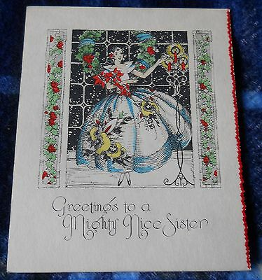 Vintage 20s or earlier-TO A MIGHTY NICE SISTER- CHRISTMAS GREETING CARD  unused
