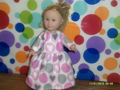"6/6.5"" Doll Clothes-fit Mini American Girl My Life-Nightgown-Pink Heart"
