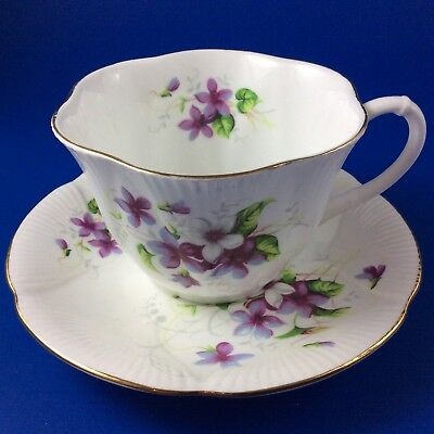 Royal Albert Purple Violets And White Floral Tea Cup And Saucer - Dainty Shape