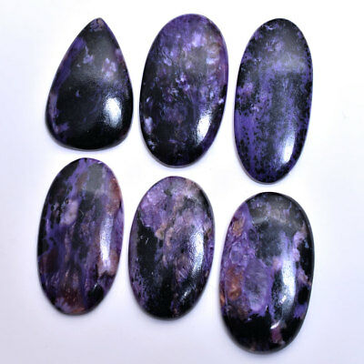 450 Carat/6 Pcs 100% Natural Russian Charoite  Cabochon Loose Gemstones Lot