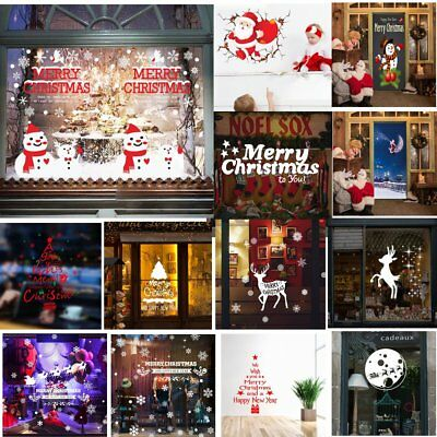 MERRY CHRISTMAS PEEL OFF STICKERS Shimmer Holographic Xmas Wall Stickers UP