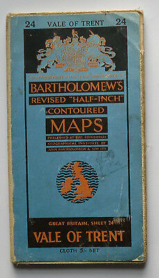 1961 vintage Bartholomew's half-inch contoured map 24 Vale of Trent on cloth