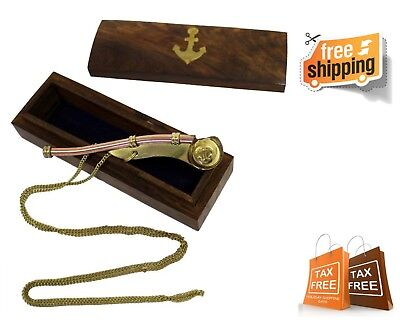 Nautical Maritime Solid Bras Boatswains Whistle or Bosun Pipe with Wood Box