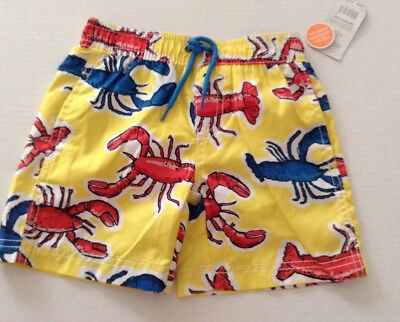 carters Swim Trunks Shorts Boys Sz 2t NEW yellow with Lobsters UPF50+