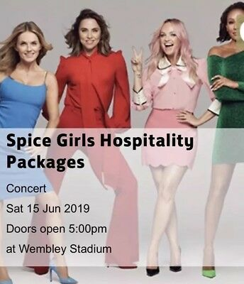 "Spice Girls 2x Seated ""Drinks Hospitality Package"" VIP Wembley June 15 Saturday"