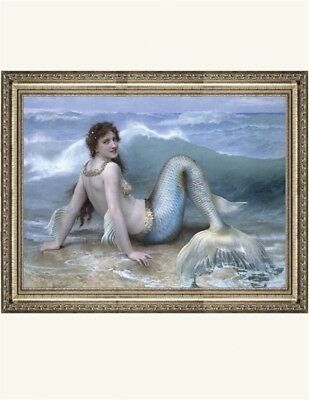 Victorian Trading Co Mermaid Wave Art Print by Tatiana Willener Framed 30A