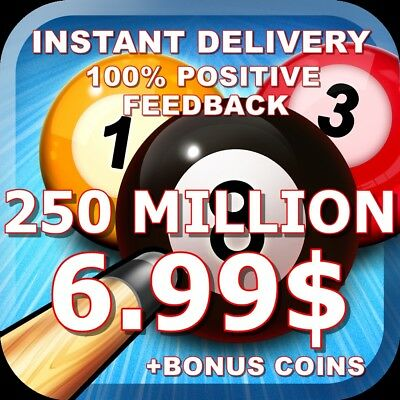 8 Ball Pool Coins 250 MILLION - INSTANT DELIVERY | TRANSFER OR NEW ACC