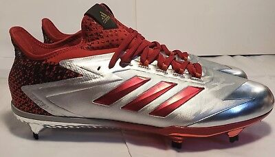 factory price b2c86 921ae Adidas Adizero Afterburner 4 Red Silver Mens Baseball Cleats BY3676 Size 14