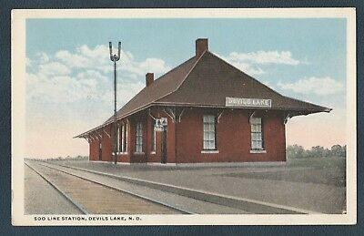 Soo Line Railroad Depot Devils Lake North Dakota Vintage Postcard