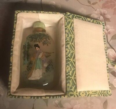 Rare Antique Vintage Asian Snuff Glass Jar Hand Painted On Inside In Box