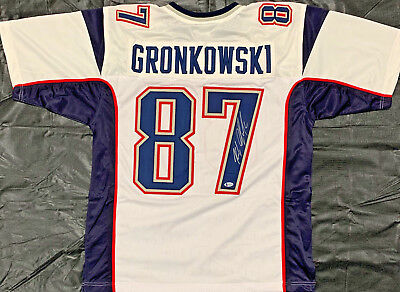 9ddea37c7 New England Patriots Rob Gronkowski Signed White Jersey Auto - Beckett BAS