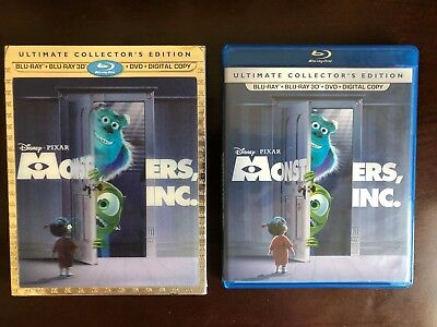 Monster's Inc. - Disney (3D Blu-ray and bonus discs) with case and slip cover