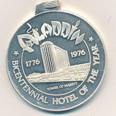 """1976 Aladdin Hotel Las Vegas Grand Opening .999 Silver """"medal"""" In Box-Free S/h!"""