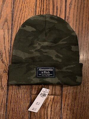 5abc891001d Abercrombie Fitch A F Camo Camouflage Logo Turn Up Beanie Winter Hat Brand  New