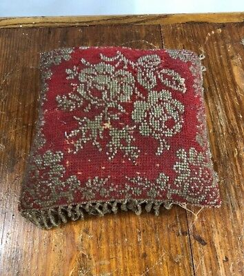 Antique Victorian Beaded Pin Cushion Floral Design!