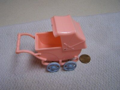 Vintage Ideal Miniture Dollhouse hard plastic Baby Carriage
