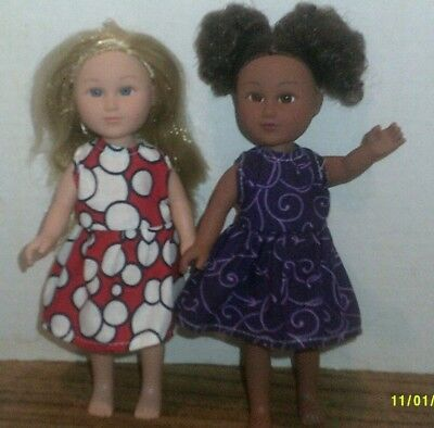 "6/6.5"" Doll Clothes-fit Mini American Girl My Life-2 Dresses-Purple/Rd Bubbles"