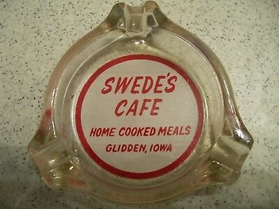Swede's Cafe~Glidden, Iowa~Vintage Glass Ashtray