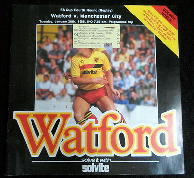 Watford v Manchester City   fa cup 4th round replay  28-1-1986   & Ticket