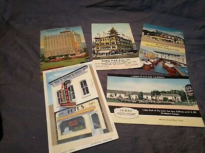 Lot of 5 Vintage Posted & Unposted Postcards Mixed Restaurant / Hotel