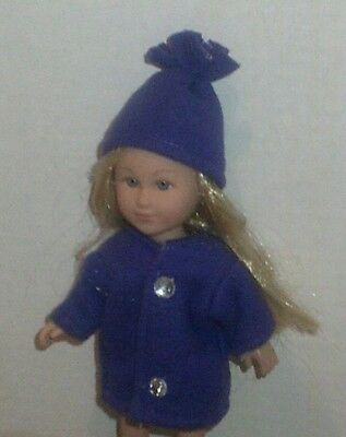 Doll Clothes-fit Mini American Girl Boy My Life-Coat & Hat-Fleece-Purple